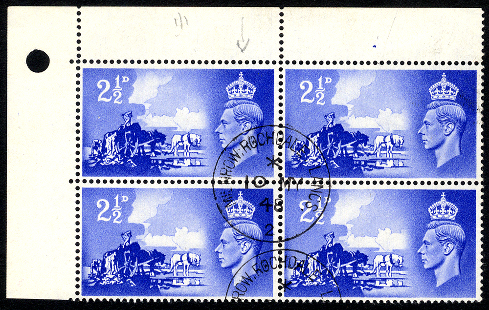 1948 Channel Islands Liberation 2½d ultramarine corner marginal UM block of four incl. 'Crown flaw'