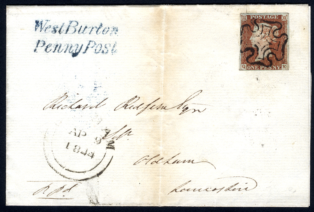 1844 cover from Bedale to Oldham, franked 1841 1d red Pl.26 QK