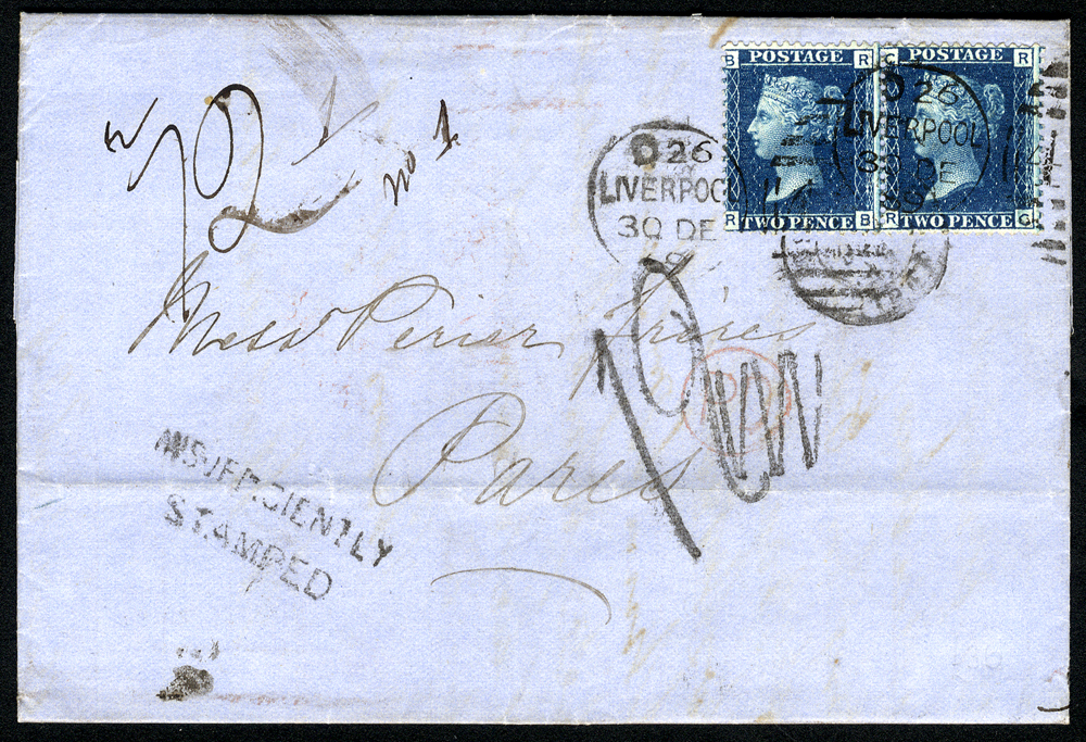1869 cover from Liverpool to Paris, franked 2d blue Pl.13 (pair)