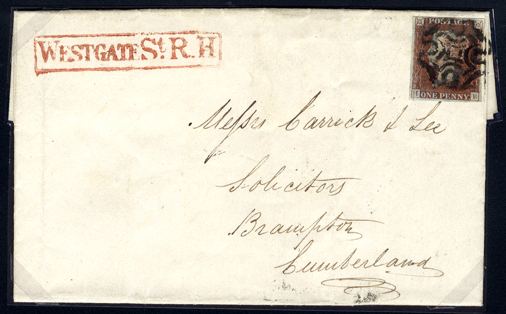 1841 cover from Newcastle on Tyne to Brampton, franked red from black Pl.5 HB