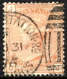 1876 Wmk Large Garter 4d vermilion Pl.15 - VFU