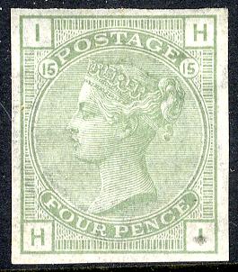 1880 Wmk Large Garter 4d Colour Trial Imperf in light sage