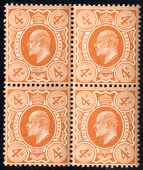 1909 4d orange red, UM block of four