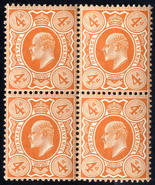 1909 4d orange red, UM block of four