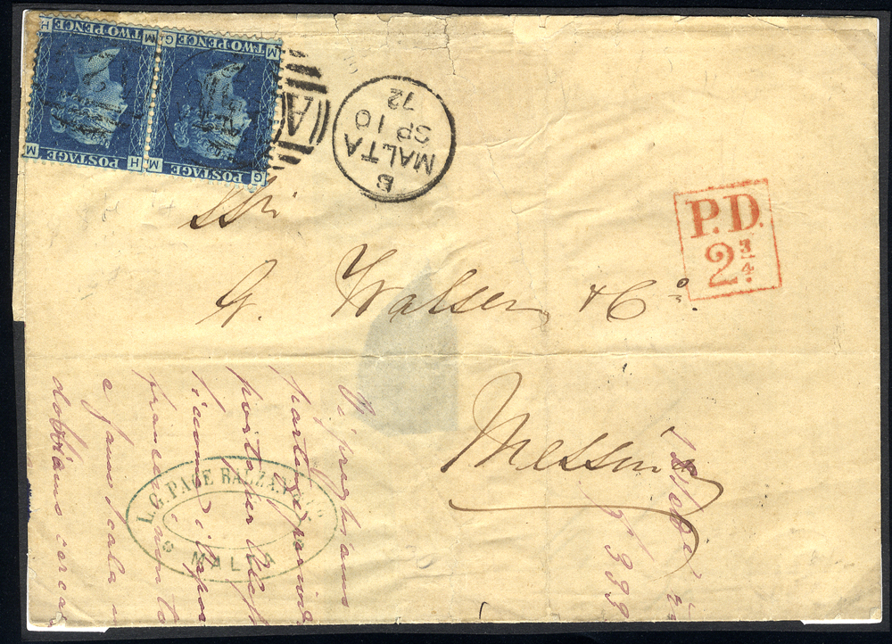 MALTA - 1872 cover from Malta to Messina, franked 2d blue Pl.14 horizontal pair