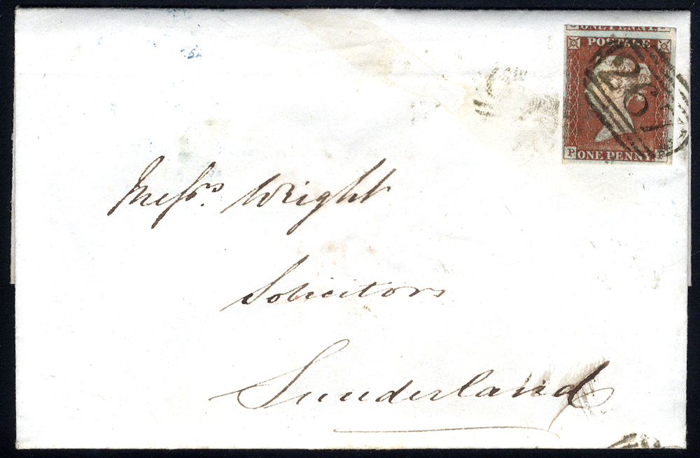 1845 entire letter from Durham to Sunderland, franked 1d red-brown