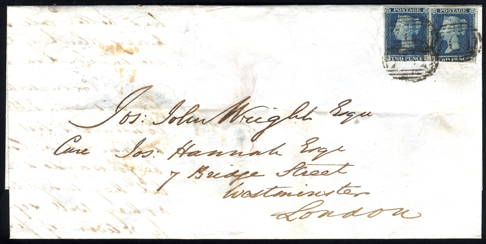 1846 entire letter from Sunderland to London, franked 2d blue Pl.3 horizontal pair