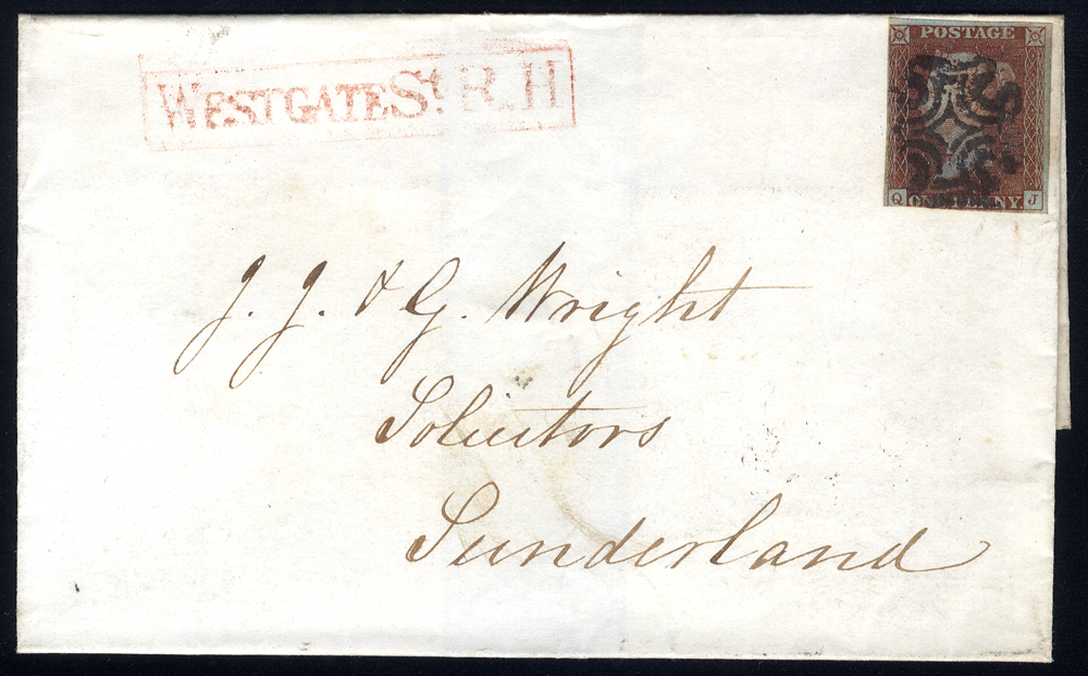 1841 cover from Newcastle to Sunderland, franked 1d red-brown