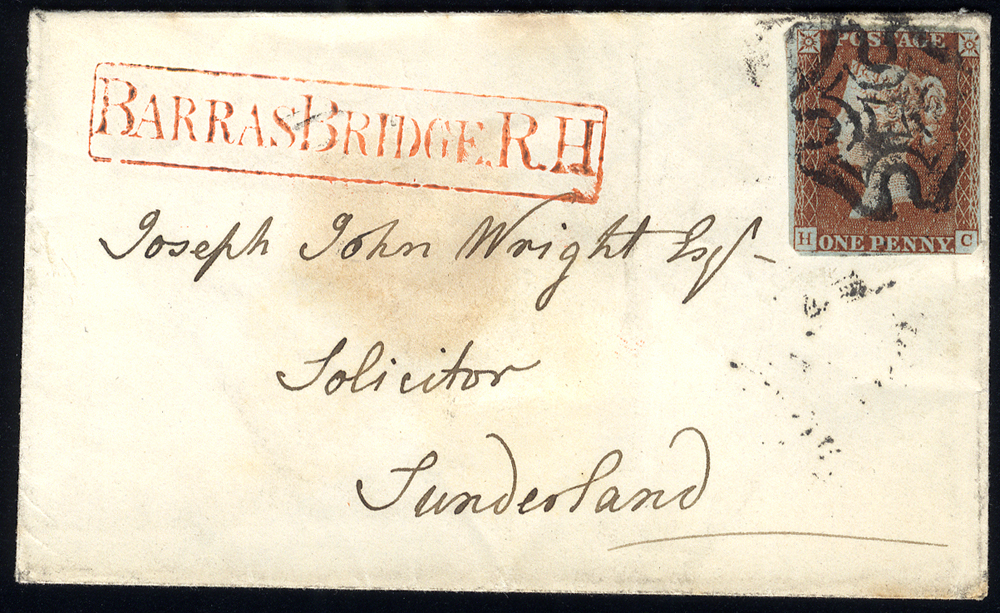 1842 small envelope from Newcastle to Sunderland, franked 1d red-brown
