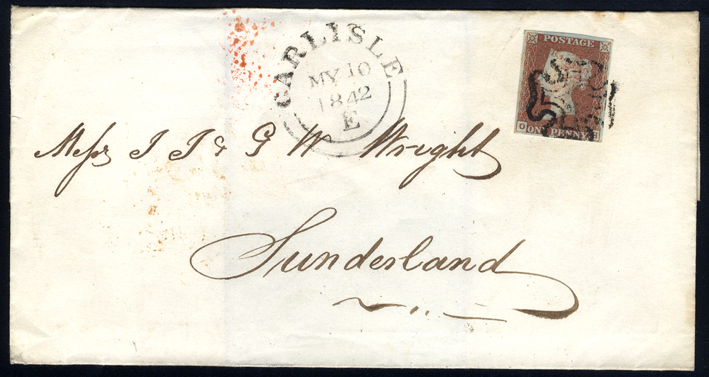 1842 cover from Dunfermlin to Sunderland, franked 1d red-brown
