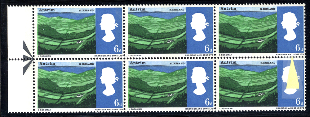 1966 Landscapes 6d marginal UM block of six incl. variety