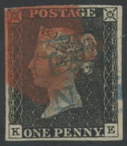 1840 1d black - Plate 3 KE