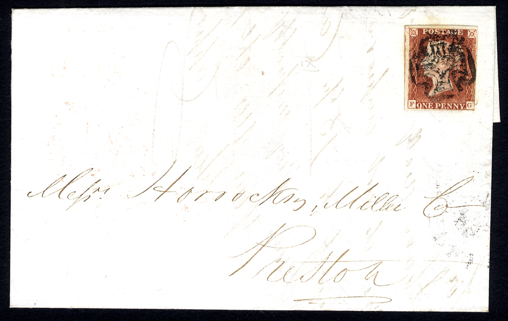 1841 cover from Manchester to Preston, franked Pl.9 FG