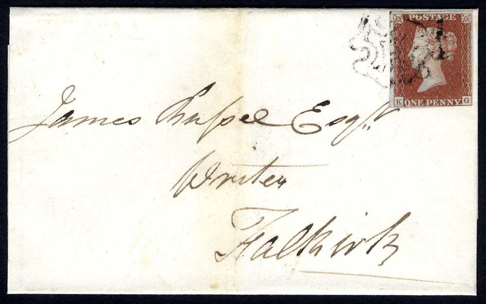 1841 cover from Grangemouth to Falkirk, franked red from black Plate 8 KG