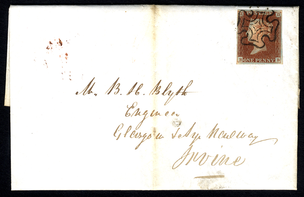 1842 Feb 5th entire Edinburgh to Irvine, franked Pl.2 BB