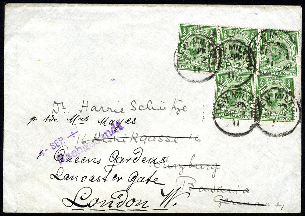 1911 ½d bluish green Wmk Crown Die IA, on cover (incl. strip of three) from New Milton to Bavaria