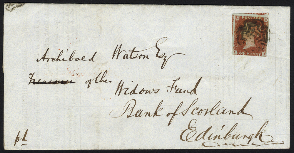 1844 Bank of Scotland branch return form Kilmarnock to Edinburgh, franked 1841 1d red Pl.35 LH