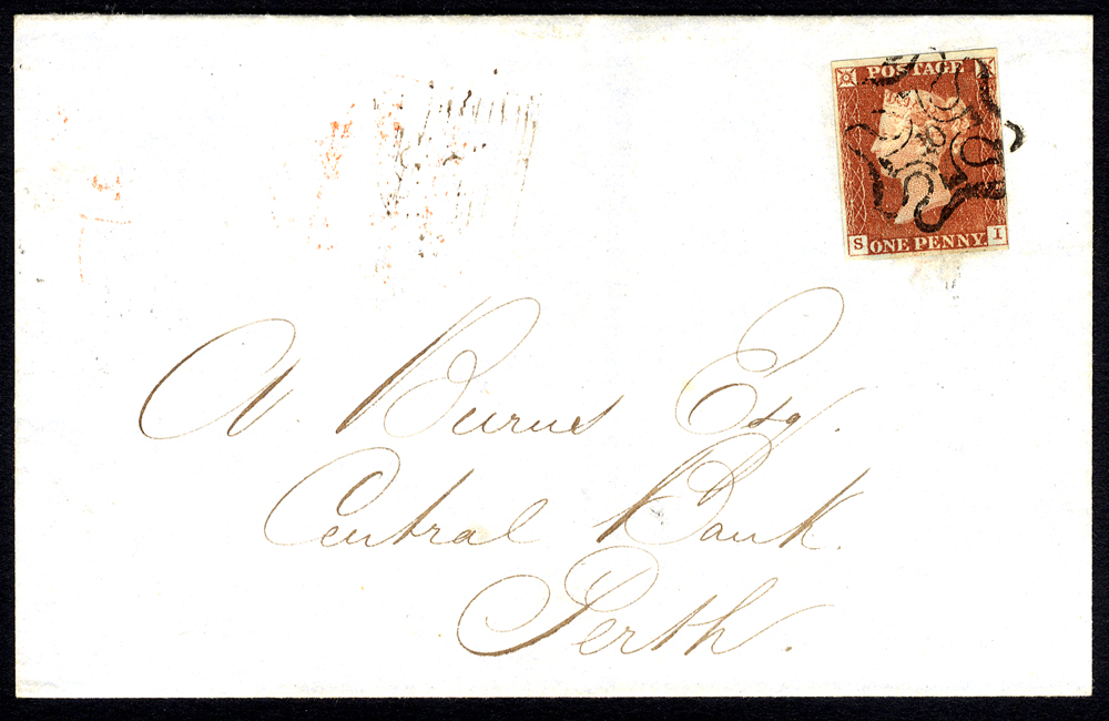 1843 cover from London to Perth, franked Pl.33 SI