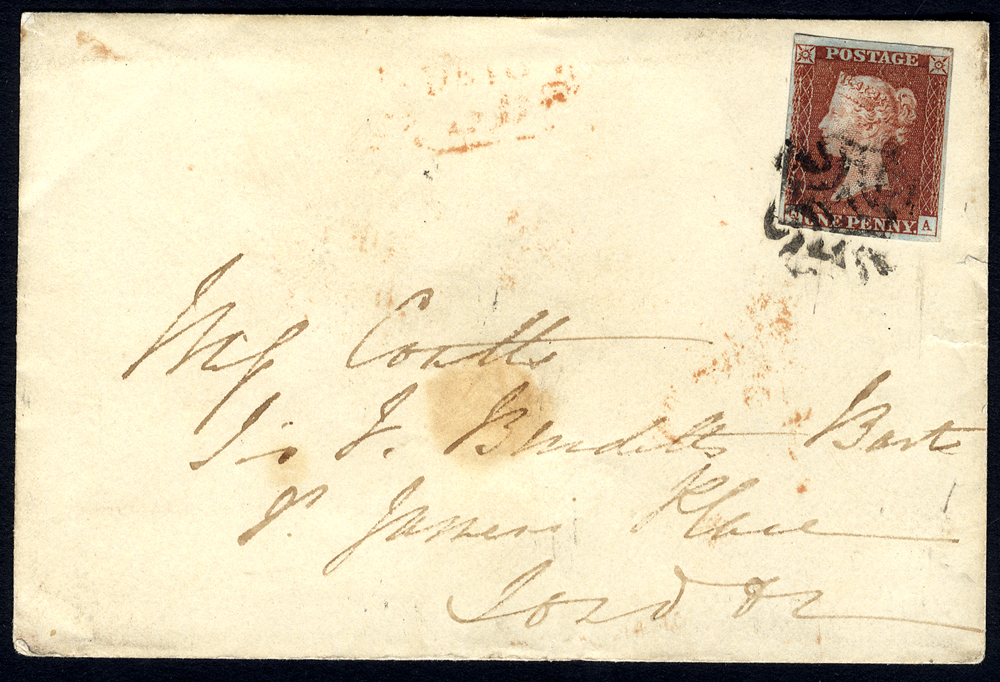1843 cover from Brighton to London franked Pl.35 QA