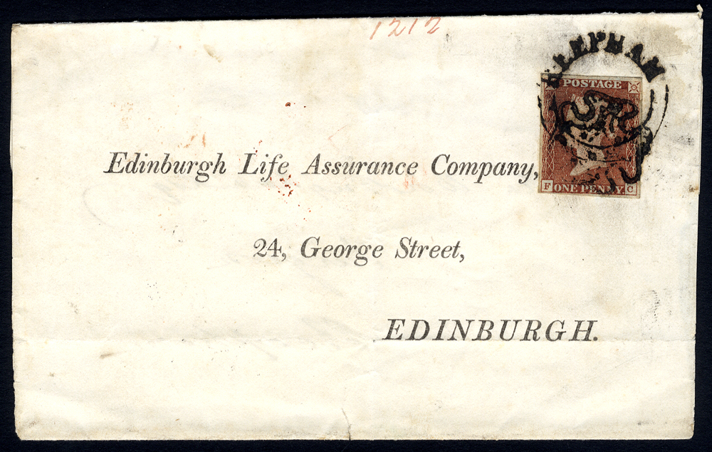 1842 1d red-brown FC on cover Norfolk to Edinburgh