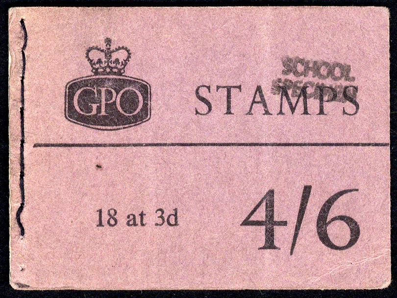 1959 Aug Wmk Crown 4/6d Wilding booklet 3x 3d panes, each stamp optd SCHOOL/SPECIMEN