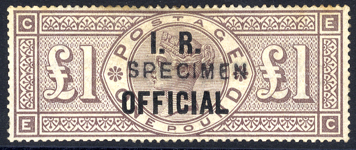 I.R OFFICIAL 1885 £1 brown-lilac Wmk Crowns optd SPECIMEN Type II