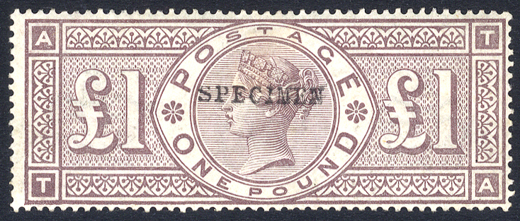 1884 Wmk Crowns £1 brown lilac TA with frame unbroken, optd SPECIMEN Type 9