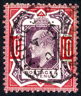 1902-10 10d slate purple & deep (glossy) carmine - VFU