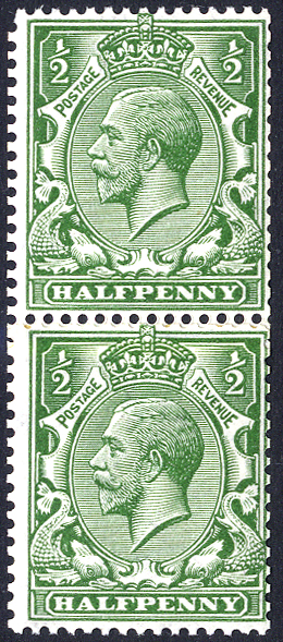 1913 Royal Cypher (multiple) ½d bright green coil join pair