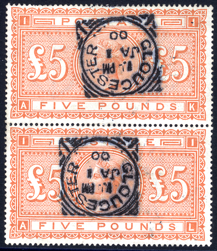 1867-83 £5 orange AK/AL vertical pair, VFU each with a Gloucester squared circle d/stamp for JAN.1.00, superb & very attractive, SG.137.