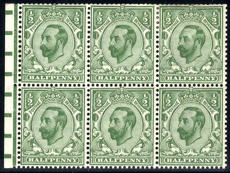 1911-12 ½d bluish green wmk inverted booklet pane of six with binding margin (3x UM), SG.326var. Spec.NZ(8), BPA Cert. 2007. Cat. £1260++
