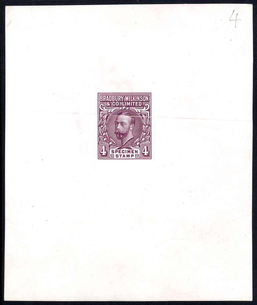 BRADBURY WILKINSON & CO. LTD King George V Essay. An Imperf example for the 4d value in dull lilac on proof paper with company name above the head and 'SPECIMEN STAMP' below of unknown status, horizontal crease through image. Scarce