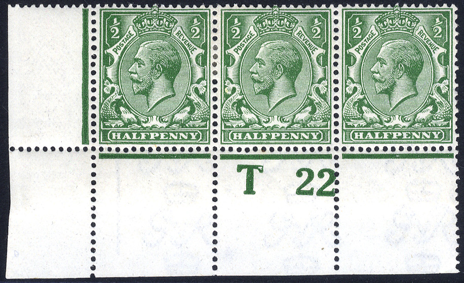 1922 ½d deep cobalt-green corner marginal control 'T22 Perf' strip of three (2 stamps hinged), Spec.N14(18), RPS Cert. 1987 (photocopy). Cat. £1000