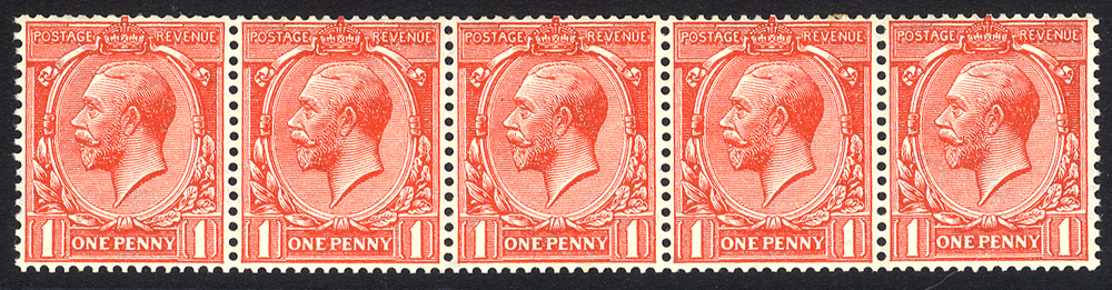 1924 1d scarlet Wmk Sideways coil strip of five, UM, SG.419a, Cat. £200+