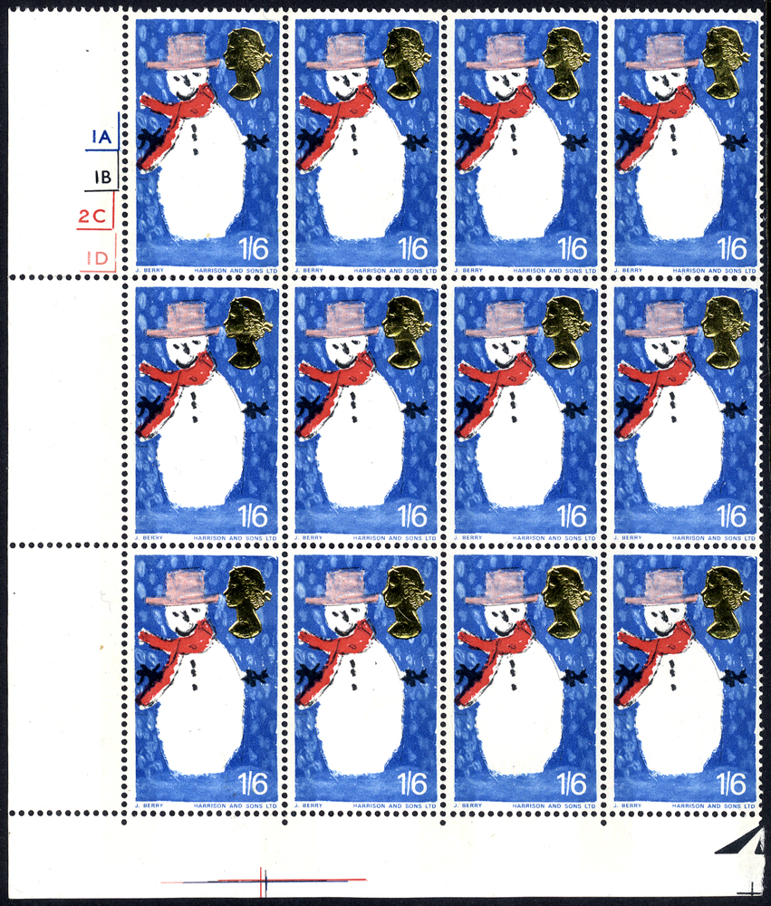 1966 Christmas 1/6d phosphor wmk inverted UM lower left corner marginal Cylinder block of twelve, some minor gum bends hardly detracts this scarce multiple, SG.714pwi, Cat. £1080++