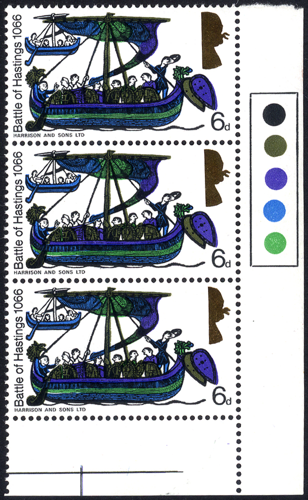 1966 Hastings 6d in corner marginal vertical strip of three with traffic lights, each stamp with half the Queen's Head omitted, UM, SG.711var.