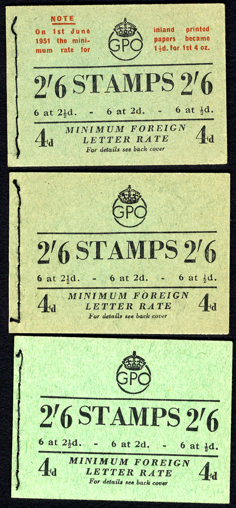 1951 May, June (rate corrected in red), July, SG.BD18 (1, 2 - small abrasion back cover & 3b - corrected inside cover), VF. Cat. £330