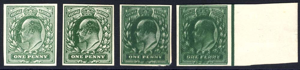 1902 One Penny Plate Proofs in, pale green on thin white card, also in deep green on thin white card, and further examples with double & triple impressions. Fine group.