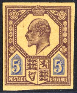 1902 5d slate-purple & ultramarine Plate Proof on poor quality buff paper.