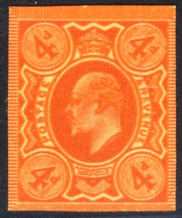 1909-11 4d Plate Proof in orange on poor quality buff paper.