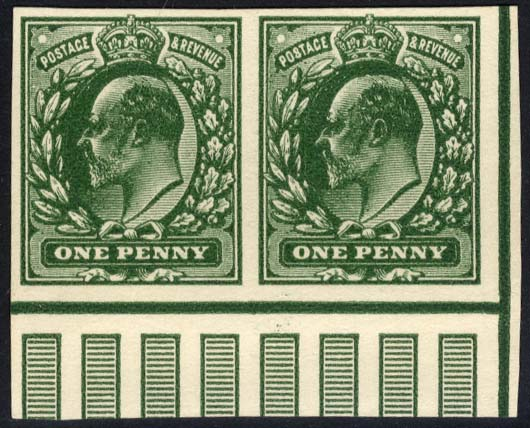 1902 One Penny Plate Proof in deep green on thin white card, fine marginal pair showing vertical pillars.