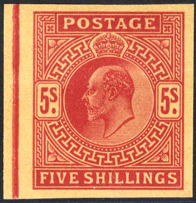 1902 5s bright carmine Plate Proof on poor quality buff paper.