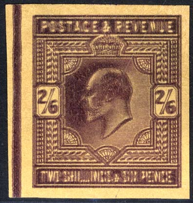 1902 2/6d dull purple Plate Proof on poor quality buff paper. DOUBLE IMPRESSION.