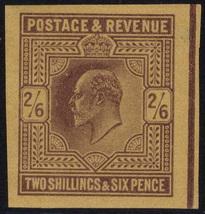 1902 2/6d dull purple Plate Proof on poor quality buff paper