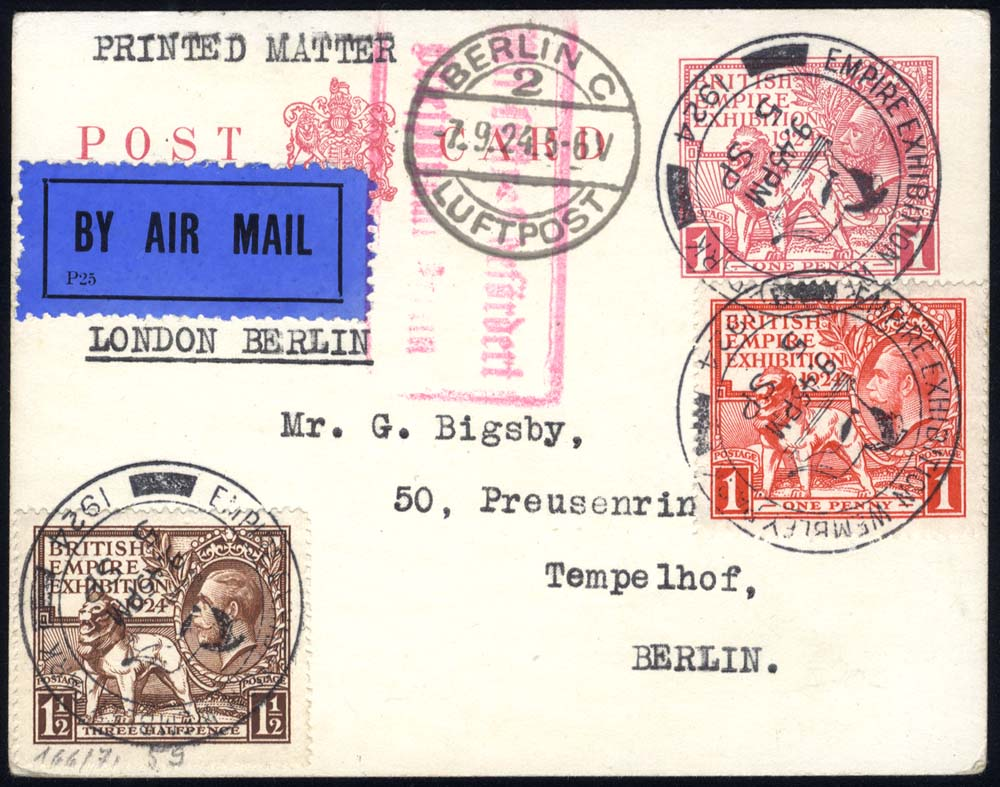 1924 Wembley 1d postcard uprated with the Wembley set of stamps, sent airmail to Tempelhof, Berlin