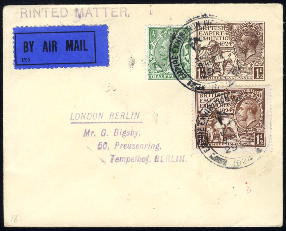 1924 Wembley 1½d envelope uprated with Wembley 1½d + ½d defins, sent airmail to Tempelhof, Berlin
