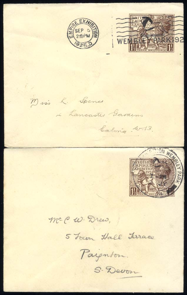 1924 Wembley 1½d envelope cancelled by Wembley Park double ring c.d.s, also 1925 1½d Wembley envelope
