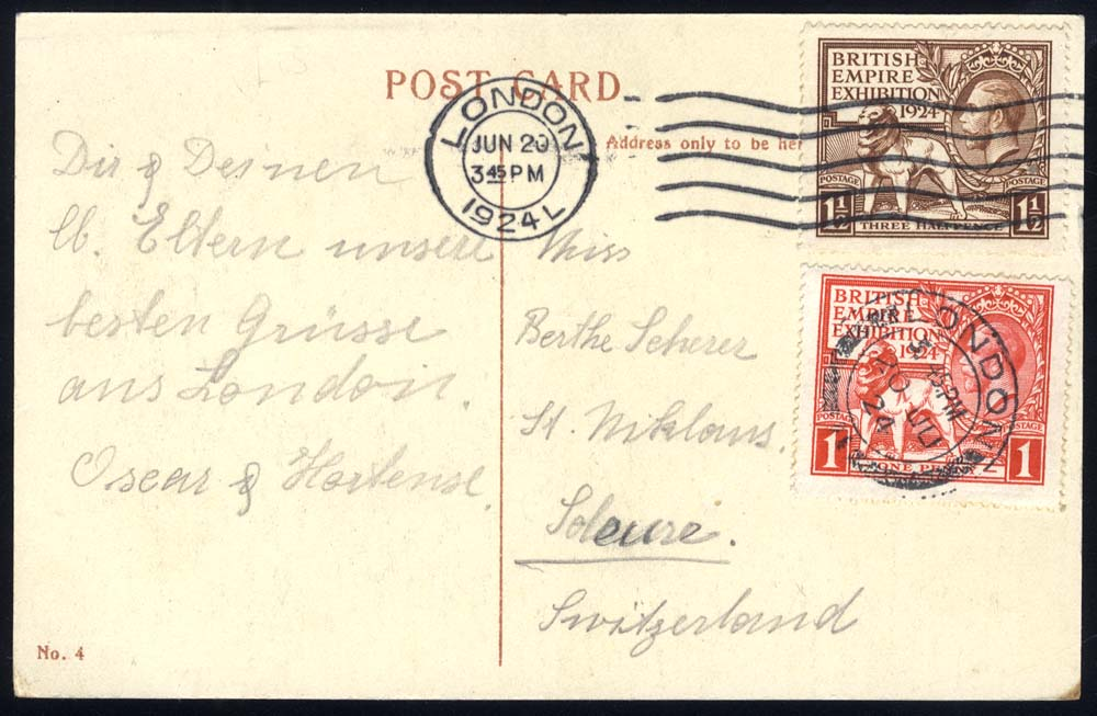 1924 Wembley set on a PPC to Switzerland, 1½d tied London c.d.s/wavy lines for June 20th 1924, 1d tied London double ring c.d.s