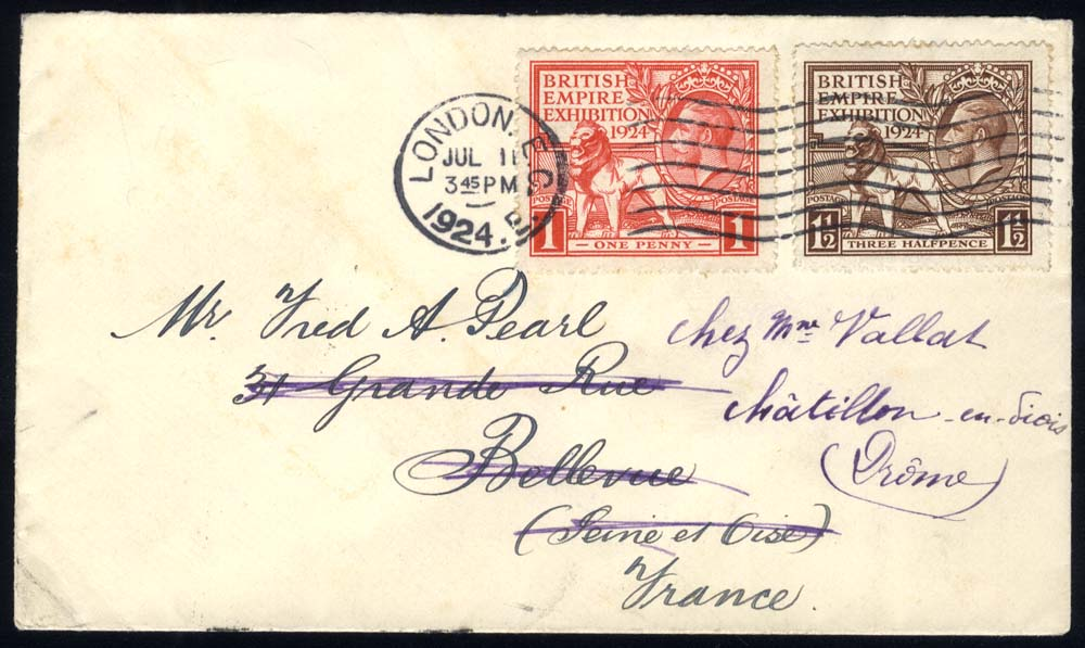 1924 Wembley set together on a cover to Bellevue, France then redirected to Drome