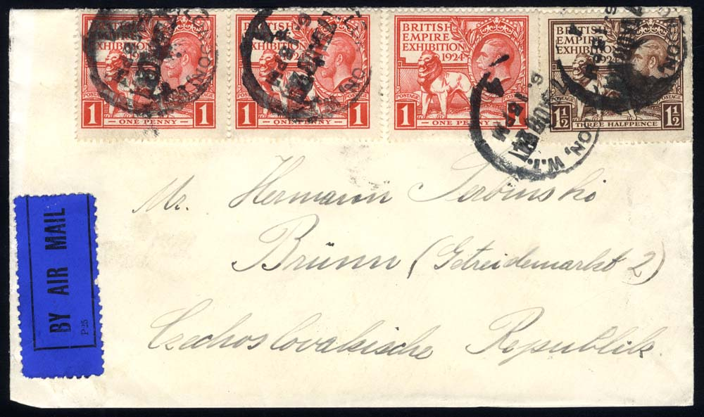 1924 airmail cover to Brno, Czechoslovakia, sent via Berlin, franked 1924 Wembley 1d (3) & 1½d